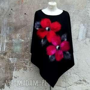 Czarne z kwiatami poncho srebrna nitka ponczo, klasyczne ponczo