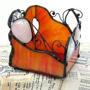 świeczniki świecznik pomarańczowy kryształ kwarc różowy, witrażowy