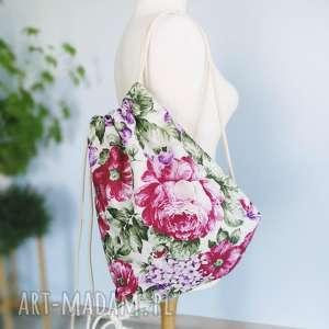 worek plecak kwiaty vintage style, plecak, worek, kwiaty,