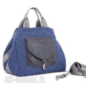 handmade na ramię torba big duo normal - niebieska