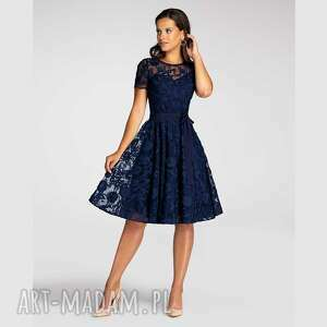 sukienki sukienka fiori midi w kolanko kamelia granat, koronka, koronkowa