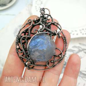 naszyjniki aura medalion - naszyjnik z wisiorem kwarcem blue angel
