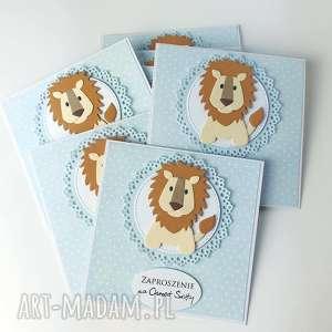 zaproszenia z lwem - zaproszenie, urodziny, chrzest roczek, kartka