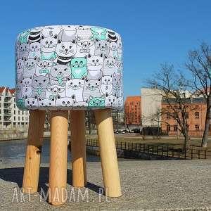 Pufa Miętowe Kotki 2 - 45 cm, puf, stołek, ryczka, siedisko, hocker, taboret