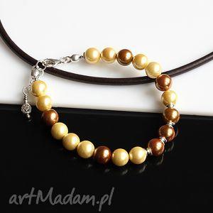bransoletki złocisto-miedziana bransoletka, perły, seashell, srebro, błyszcząca