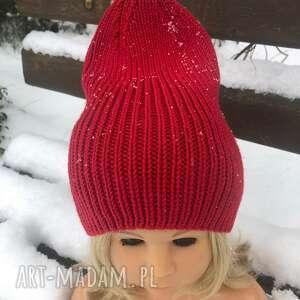 lubaknits, czapka beanie wysoka., czapka na drutach, zimowa, ciepła