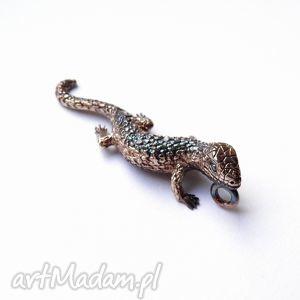 wisiorek - salamandra brązowa, biżuteria, srebro, wisiorek