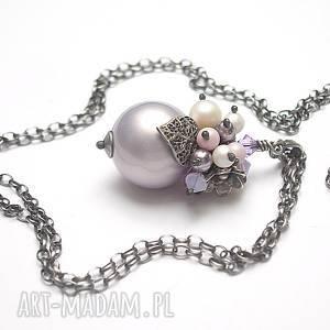 Bez - /03-2019/ naszyjnik , srebro-oksydowane, perły, swarovski, liść, majorka,