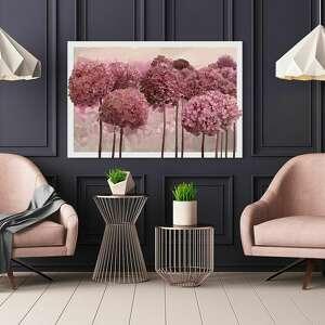 obraz do salonu drukowany na płótnie z kwiatami, różowe kwiaty hortensji