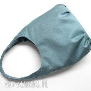 pomysł na świąteczne prezenty Torba Hobo - tkanina niebieska, elegancka, nowoczesna