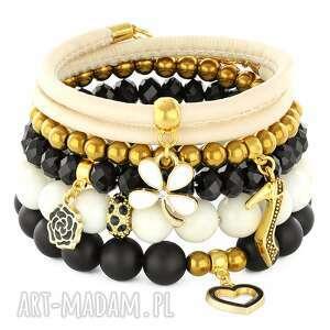 black ivory & gold set lavoga - rzemień, pantofelek kwiatek, hematyt