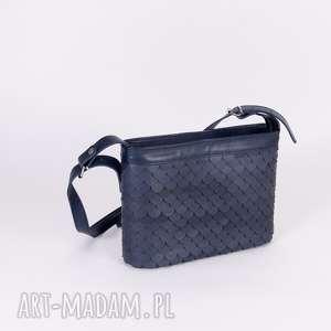 handmade na ramię torebka łuska duża granat