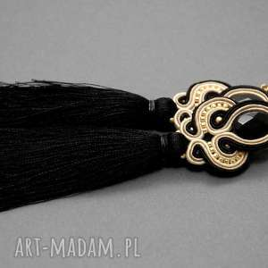 klipsy beżowo-czarne sutasz z onyksami i chwostami, sznurek, eleganckie
