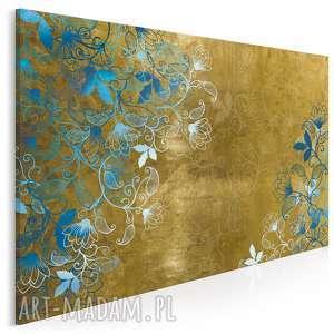 obraz na płótnie - bluszcz kwiaty złoto 120x80 cm (82101)