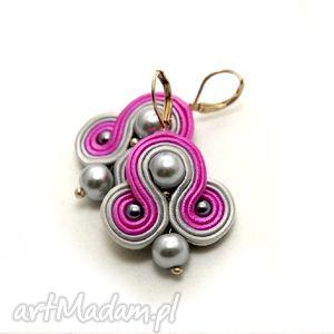 kolczyki sutasz z perełkami, soutache, sznurek, eleganckie, perła, amarant