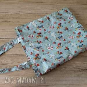 torba bawełniana - łączka na miętowym tle, kwiaty, łąka, zakupy, ekologiczna