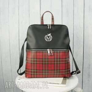 manzanatorebki manzana plecak plecaczek na zamek elegancki prezent czerwona kratka