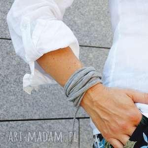handmade bransoletka zawijana damska na lato, modna dla niej, bawełniana