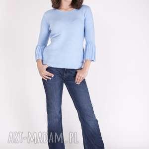 sweterek, swe096 niebieski mkm, dzianinowy, sweter, rozszerzane, rękawy