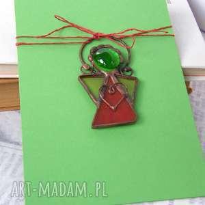 kartki kartka na życzenia z zielono-czerwonym aniołkiem, witrażowy aniołek