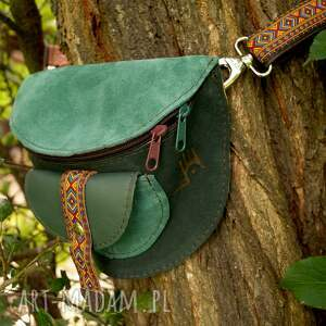 ręcznie wykonane nerki skórzana nerka odcienie zieleni aztecka