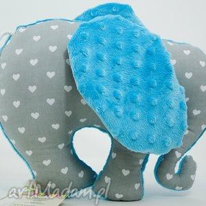 Słoń SERDUSZKA turkus, przytulanka, maskotka, słoń, słonik
