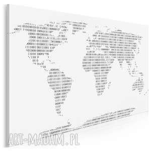 obraz na płótnie - mapa cyfry czarno-biały 120x80 cm 84101, mapa, kontynenty