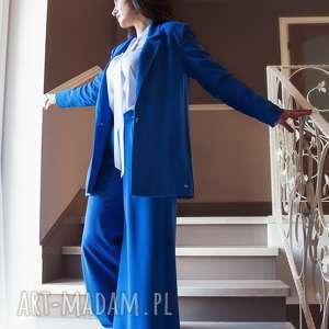 marynarki bien fashion niebieska marynarka damska długa, prosta, luźna