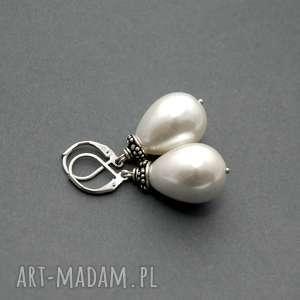kolczyki z perłą seashell, perła, perełka, eleganckie, wiszące, wieczorwe, delikatne