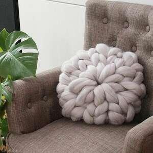 poduszki poduszka czesankowa szara, poduszka, pleciona, okrągła