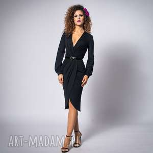 wyjątkowy prezent, sophia - black night, elegancka, wygodna, kopertowa sukienki