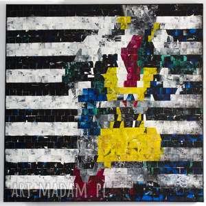 żółta torebka, obraz, płótno, akryl, mozaika, obraz kobiety