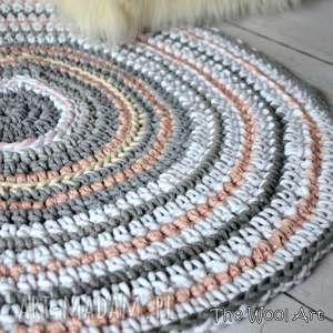 sznurkowy dywan, dywanik, okrągły, sznurek, dla dzieci pokoik dziecka