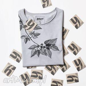 LEAVES szara koszulka oversize tunika, tshirt, ornamnet, nadruk, oversize, luzna