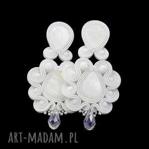 kolczyki ślubne soutache desing white, ślubne, długie, stylowe, sutasz,
