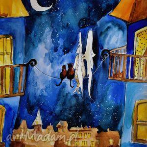 Akwarela ANIOŁ I KOTY artystki plastyka Adriany Laube, anioł, koty, noc, księżyc