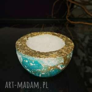 hand made świeczniki turkusowy świecznik na standardowe podgrzewacze