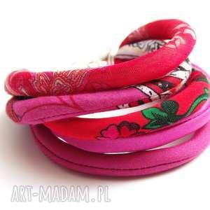 kolorowa bransoletka z materiału, na lato, tkanina, materiał