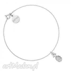 srebrna bransoletka z ananasem - minimalistyczna, zawieszka ananasek