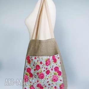 torba lniana vintage kwiaty, torba, torebka, len, lniana,