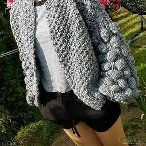 ręcznie zrobione swetry grey bomber