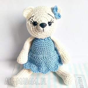 Kremowa pani misia w niebieskiej sukience - Handmade