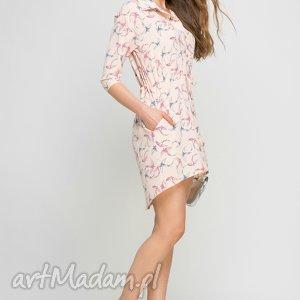 sukienki sukienka, suk142 jaskółki/róż, koszula, różowa, kołnierzyk, kieszenie