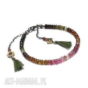 Marrakesh - bransoletka, srebro, oksydowane, pozłacane, turmaliny, hematyty, chwosty