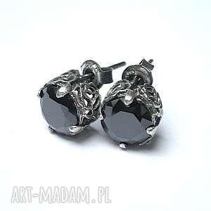 Koronkowe /black/ - kolczyki, cyrkonie, srebro, koronkowe, sztyfty