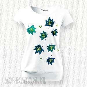 Komfortowa bluzka na lato - ręcznie malowana ::LISTKI ::, koszulka, bluzka-damska