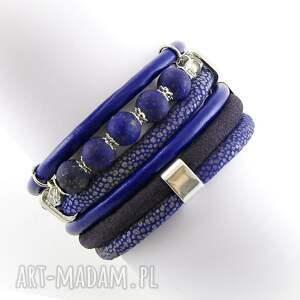 bransoletka z lapis lazuli, owijana, biżuteria