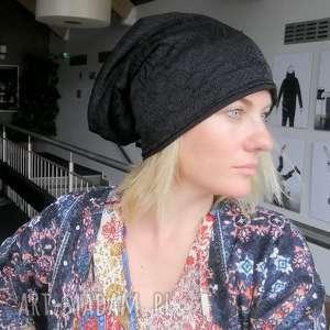 czapka damska czarna koronkowa na podszewce, koronka, czarna, czapka, etno, wiosna