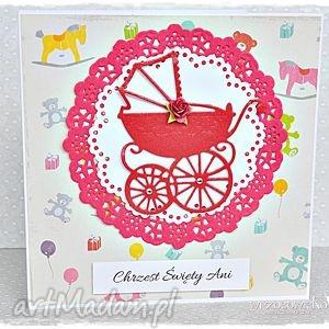 Kartka na Chrzest - imienna, chrzest, pamiątka, chrztu, dziewczynka, wózek