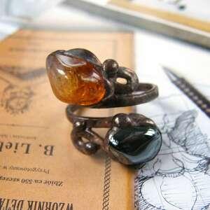 regulowany pierścionek z cytrynem i hematytem